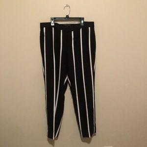 Banana Republic Stripped Black Trousers